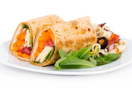 a portion: Sandwich wrap portion on plate Stock Photo