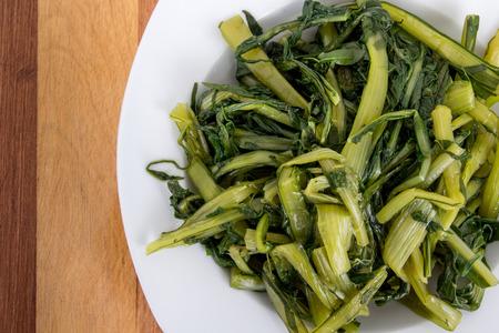 prepared: Prepared boiled dandelion greens bowl