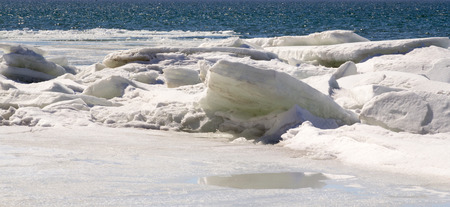 qc: River ice stacking in winter Qc Canada Stock Photo