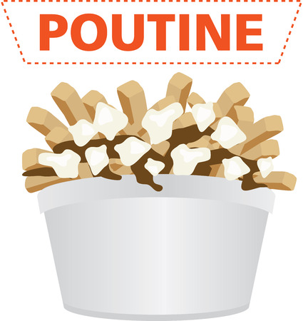 Poutine quebec meal with french fries, gravy and cheese curds illustration vector