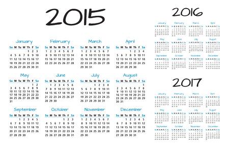 week end: Ingl�s Calendario de un a�o 2015-2016-2017 en azul y negro