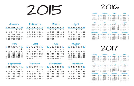 English Calendar of a year 2015-2016-2017 in blue and black