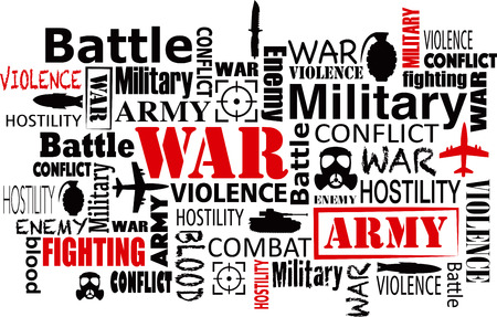 geopolitics: war violence word cloud red and black
