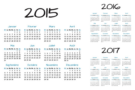 French 2015 2016 and 2017 year vector calendar calendrier francais