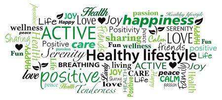 positief: Gezonde levensstijl woordwolk van vector Stock Illustratie