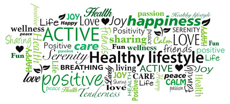 positive: Healthy Lifestyle word cloud vector