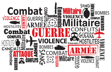 geopolitics: war violence word cloud vector illustration in french