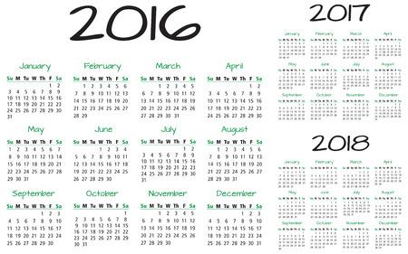 英語カレンダー 2016年-2017年-2018年ベクトル 写真素材 - 39095381