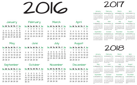 appointments: English Calendar 2016-2017-2018 vector