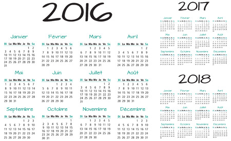 event planner: French 2016 2017 and 2018 year vector calendar