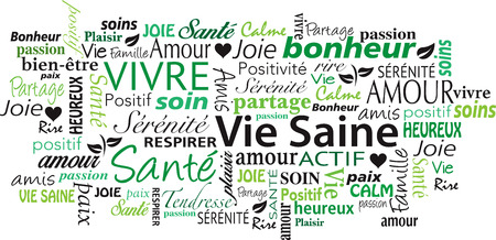 french Healthy Lifestyle word cloud collage vector illustration Çizim