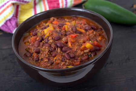 chili beef chili on black table