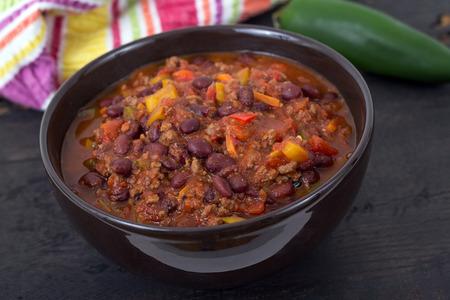 chili beef chili on black table