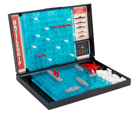 SorelTracy Canada May 25 2015: A studio shot of the 1967 classic Milton Bradley game quotBattleshipquot also called Expired sea battle board game isolated on a white background Editoriali