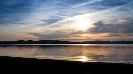 long lake: mazing colorful evening sky sunset over lake at summer time long exposure StGabrieldeBrandon Maskinong Lake Quebec Canada