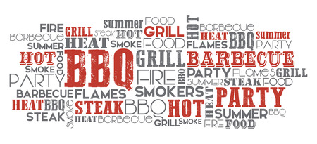 event party: BBQ related word cloud orange and grey vector one layer eps.10 Text is outlined