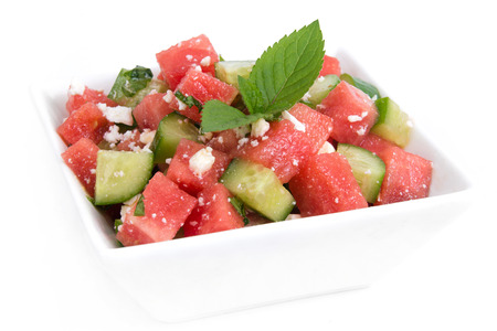 Healthy Fresh Watermelon Salad with Mint and Cucumber