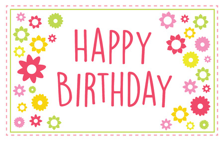 version: Happy birthday greeting card vector with summer colors, text outlined version 10