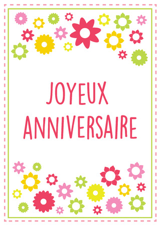 Vector french illustration birthday greeting card bonne fete