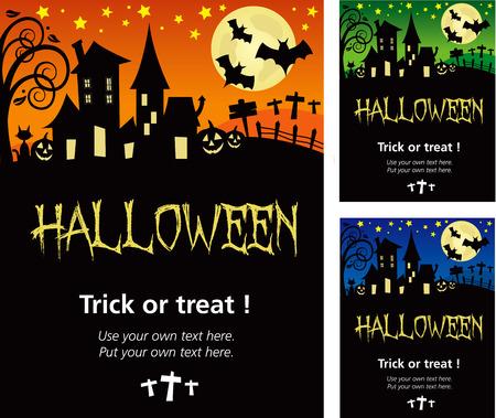 할로윈 초대장 포스터 또는 카드 일러스트 디자인, 일러스트 레이 터 V.10 그림자와 별도 개요 레이어에 텍스트 개요.