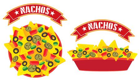 最高のチーズ メキシコ ナチョス板バナー高角表示と側面表示イラスト  イラスト・ベクター素材