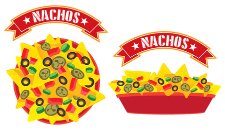 mexican food plate: Supreme cheese mexican nachos plate with banner high angle view and side view illustration vector