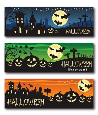 spooky house: Halloween banner illustration design text outline no drop shadow on the .eps  version 10 Illustration