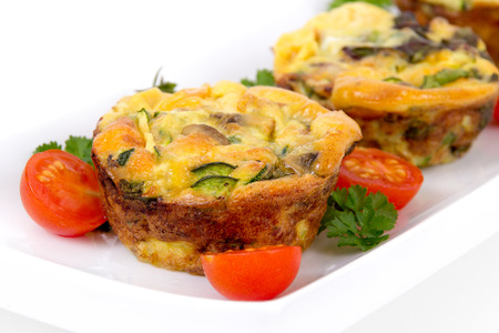egg muffin cup dinner quiche and omelet style with mushroom and pepper Archivio Fotografico