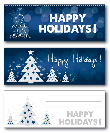 banni�re bleue: Happy Holiday christmas blue banner vector illustration text outlined Illustration