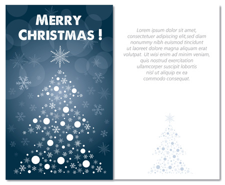 greetings card: merry christmas greeting card front and interior or back illustration text is outline