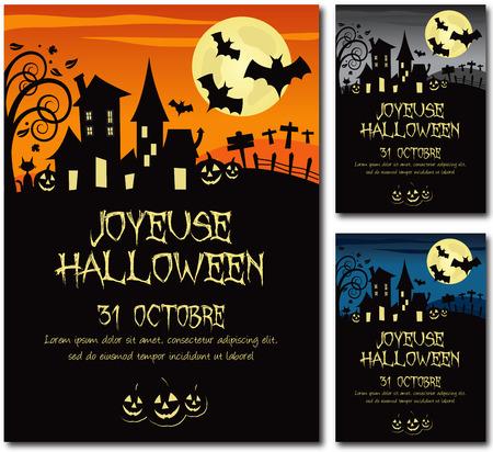 Franse Halloween poster illustratie Design Tekst schetsen geen slagschaduw versie 10 Stock Illustratie