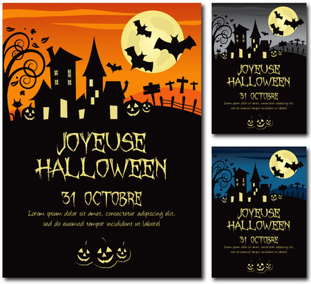 horror house: French Halloween invitation poster illustration design text outline no drop shadow version 10