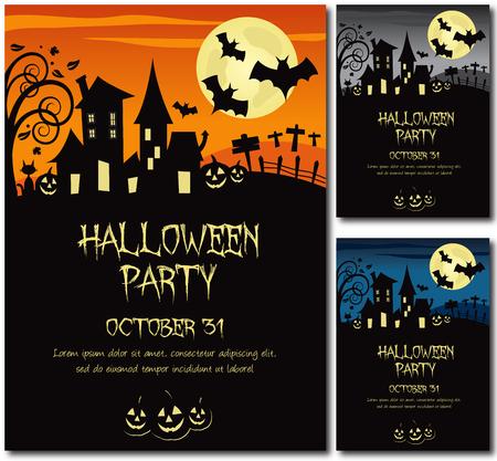 calabazas de halloween: Cartel de Halloween la invitaci�n del partido o de la tarjeta, ilustraci�n, dise�o, esquema del texto, sin sombra sobre los .eps