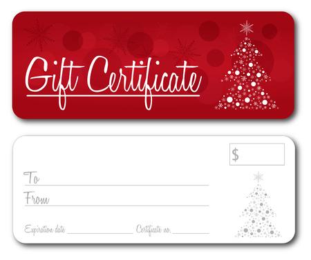 Gift certificate christmas design vector front and back font outline no drop shadow Ilustração