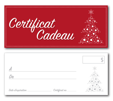 French Gift certificate christmas design vector front and back font outline no drop shadow