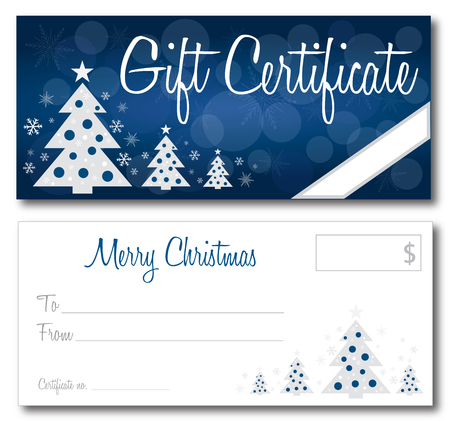 holiday: Christmas gift certificate back and front no shadow on the vector version 10 text outlined Illustration