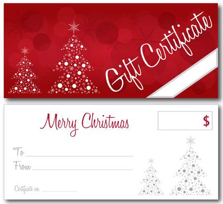 Certificado de regalo de color rojo diseño de la Navidad del vector frente y contorno de vuelta de la fuente sin sombra Foto de archivo - 47389286