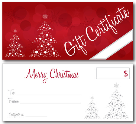 red gift certificate christmas design vector front and back font outline no drop shadow Illustration