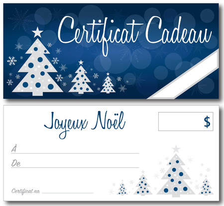 French blue christmas gift certificate back and front no shadow on the vector version 10 text outlined