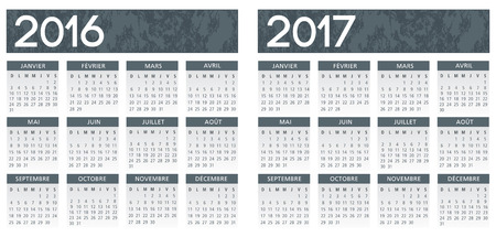 grey: French textured grey calendar vector 2016-2017 Illustration