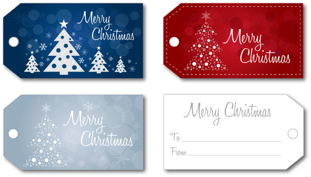 Christmas gift tag set no shadow on the vector version 10 text outlined
