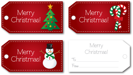 christmas gift tag: Red christmas gift tag set front and back illustration  Illustration
