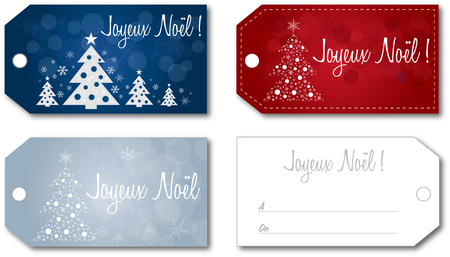 tag: French Christmas gift tag set no shadow on the vector version 10 text outlined
