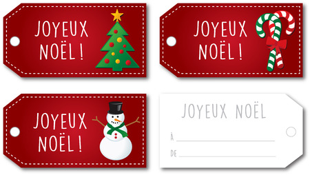 christmas gift tag: French Christmas gift tag set no shadow on the vector version 10 text outlined