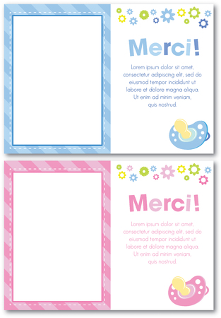 French thank you baby card design  Illustration