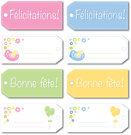 french culture: french newborn baby gift tag design vector version 10 no drop shadow on the eps Illustration