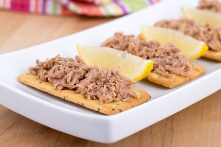 Tuna meat on crackers as snack or appetizer