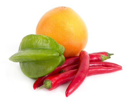 starfruit grapefruit and cayenne colorful fruits and vegetable