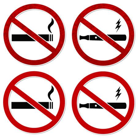 No smoking sign vector for cigarette and electronic cigarette vaporizer with layers easy to edit