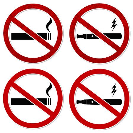 prohibido fumar: Sin vectorial signo de fumar de cigarrillo y cigarrillo electrónico vaporizador con capas fácil de editar